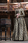 London, UK. 25 April 2015. Rachel Pickup as Portia. William Shakespeare's The Merchant of Venice is performed at Shakespeare's Globe, Globe Theatre, from 23 April - 7 June 2015. With Daniel Lapaine as Bassanio, Rachel Pickup as Portia and Jonathan Pryce as Shylock. Photo: Bettina Strenske