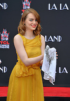 Actress Emma Stone at the TCL Chinese Theatre, Hollywood, where the star of La La Land had their hand &amp; footprints set in cement. <br /> December 7, 2016<br /> Picture: Paul Smith/Featureflash/SilverHub 0208 004 5359/ 07711 972644 Editors@silverhubmedia.com