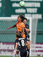 Washington Freedom midfielder Homare Sawa (10) goes up against Sky Blue FC midfielder Rosana (11).  Washington Freedom defeated Skyblue FC 2-1  at RFK Stadium, Saturday May 23, 2009.