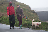Aberystwyth Wales UK, Thursday 23 February 2017<br /> A couple walk their dog in the wind during the early hours of Thursday morning in Storm Doris, the fourth named storm of the winter, hits the seaside town of Aberystwyth, bringing massive waves pounding against the promenade and sea defences.