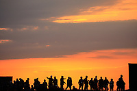 Spectators at sunrise during the Friday Fourballs at the Ryder Cup, Le Golf National, Paris, France. 27/09/2018.<br /> Picture Phil Inglis / Golffile.ie<br /> <br /> All photo usage must carry mandatory copyright credit (© Golffile | Phil Inglis)