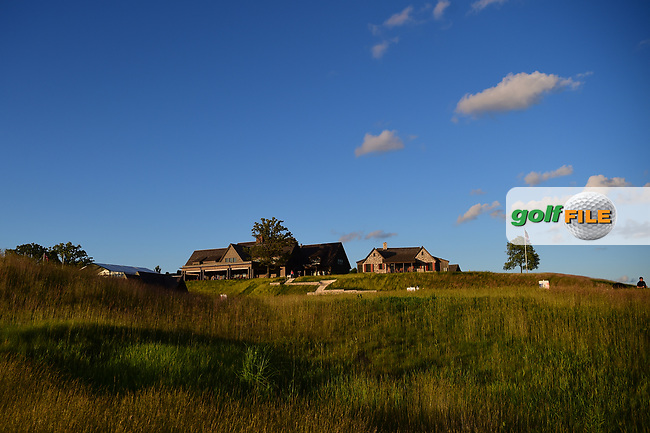 The Erin Hills Clubhouse sits on the hill awaiting sunset following the 117th U.S. Open, at Erin Hills, Erin, Wisconsin. 6/18/2017.<br /> Picture: Golffile | Ken Murray<br /> <br /> <br /> All photo usage must carry mandatory copyright credit (&copy; Golffile | Ken Murray)