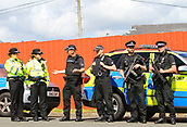 June 10th 2017, Hampden park, Glasgow, Scotland; World Cup 2018 Qualifying football, Scotland versus England; Armed Police keep the pece and security at the game