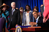 United States President Barack Obama signs the Violence against Women Act in Washington, D.C. on Thursday, March  7, 2013. From left to right: Deborah Parker; U.S. Vice President Joseph Biden; U.S. Senator Susan Collins (Republican of Maine); Tysheena (Tye) Rhames; U.S. House Democratic Leader Nancy Pelosi (Democrat of California); and U.S. Senator Patrick Leahy (Democrat of Vermont)..Credit: Dennis Brack / Pool via CNP