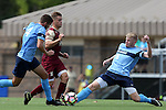 28 August 2016: San Diego's Merlin Hoeckendorff (GER) (6) and Henry Lander (ENG) (4) strip the ball from Elon's Marcel Fahrenholz (GER) (10). The Elon University Phoenix played the University of San Diego Toreros at Koskinen Stadium in Durham, North Carolina in a 2016 NCAA Division I Men's Soccer match. USD won the game 2-1.