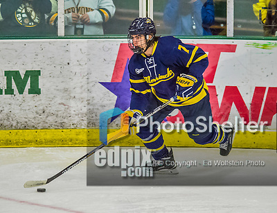 21 February 2015:  Merrimack College Warrior Defenseman Jonathan Lashyn, a Sophomore from Saskatoon, Saskatchewan, in first period action against the University of Vermont Catamounts at Gutterson Fieldhouse in Burlington, Vermont. The teams played to a scoreless tie as the Cats wrapped up their Hockey East regular home season. Mandatory Credit: Ed Wolfstein Photo *** RAW (NEF) Image File Available ***