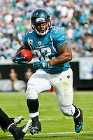 January 01, 2012:  Jacksonville Jaguars running back Maurice Jones-Drew (32) runs for yardage during first half action between the Jacksonville Jaguars and the Indianapolis Colts played at EverBank Field in Jacksonville, Florida.  ........