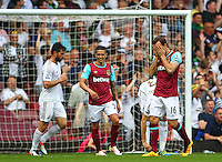 Mark Noble of West Ham United reacts  during the Barclays Premier League match between West Ham United and Swansea City  played at Boleyn Ground , London on 7th May 2016