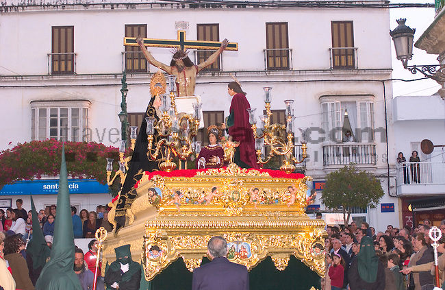 Andalucia, Cadiz, Chiclana de la Frontera, Christ, Culture, Easter Week, Easter-Friday, Europe, Geography, Holy Week, Jesus, Passion, People, Procession, Province, Religion, Roman Catholic, Semana Santa, Spain, Tradition, Andalusia, Chiclana, Costa de la Luz, Andalusien, Europa, Geografie, Küste des Lichts, Spanien, Feier, Fest, Feste, Kultur, kulturelle Veranstaltungen, Kulturen, Ostern, Veranstaltung, Eastern, festivities, public functions