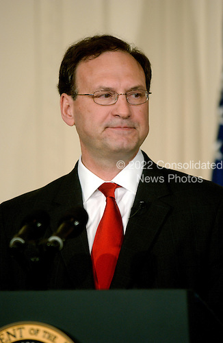 Washington, D.C. - February 1, 2006 -- Justice Samuel A. Alito makes remarks after being sworn-in as Associate Justice of the United States Supreme Court in Washington, D.C. on February 1, 2006 during a ceremony in the East Room of the White House hosted by United States President George W. Bush..Credit: Ron Sachs / CNP
