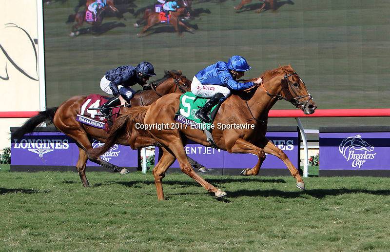 DEL MAR, CA - NOVEMBER 04: Wuheida #5, ridden by William Buick, wins the Breeders' Cup Filly and Mare Turf race on Day 2 of the 2017 Breeders' Cup World Championships at Del Mar Racing Club on November 4, 2017 in Del Mar, California. (Photo by Sue Kawczynski/Eclipse Sportswire/Breeders Cup)