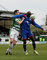 Patrick Agyemang of Stevenage (on loan from QPR) holds off Richard Hinds of Yeovil. - Yeovil Town v Stevenage - npower League 1 - Huish Park, Yeovil - 14th April, 2012 . © Kevin Coleman 2012..