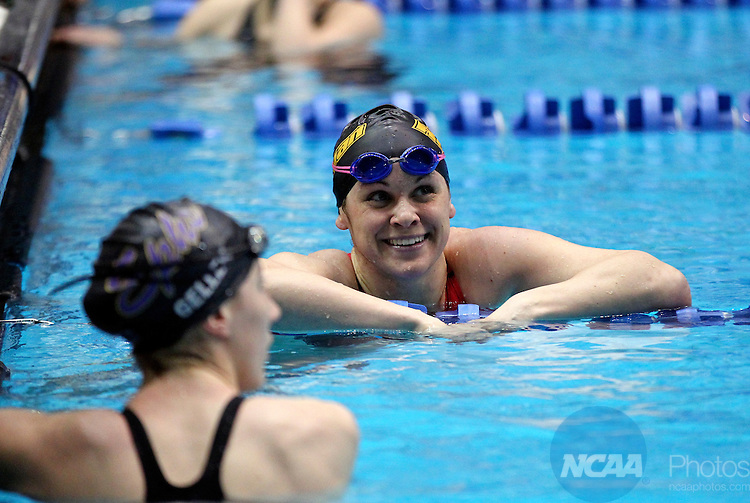 24 MAR 2012:  Christie Raleigh of Rowan is all smiles after winning the women's 100 yard freestyle during the Division III Mens and Womens Swimming and Diving Championship held at the IU Natatorium in Indianapolis, IN. Raleigh won with a time of 49.94.  Michael Hickey/NCAA Photos