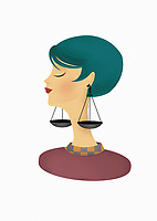 Woman posing as astrology sign Libra with scales as earrings ExclusiveImage