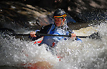 June 4, 2016 - Lyons, Colorado, U.S. -  USA junior paddler, Hayden Vorhees, in freestyle kayak action on the South Saint Vrain River at the Lyons Outdoor Games, Lyons, Colorado.