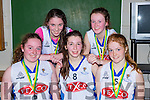 The KDYS team that played Rathmore in the u16 final at the  County basketball finals in Killarney on Sunday front row l-r: Laura Brennan, katie Halpenny, Trisha Browne, Sarah clifford and Kayleigh mcGlashen