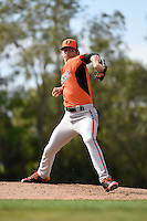 Pitcher Hunter Harvey (66) of the Baltimore Orioles organization during a minor league spring training camp day game on March 23, 2014 at Buck O'Neil Complex in Sarasota, Florida.  (Mike Janes/Four Seam Images)