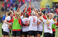 Portland, Oregon - Sunday October 2, 2016: Western New York Flash celebrate after advancing to the championship match during a semi final match of the National Women's Soccer League (NWSL) at Providence Park.