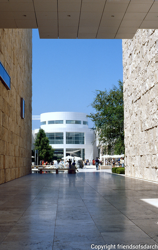 Richard Meier: The Getty Center. View from Southwest Terrace. West Pavilion (left), South Pavilion (right) to Entrance Pavilion.  Photo '99.