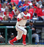 Philadelphia Phillies second baseman Freddy Galvis #13 during their home opener against the Miami Marlins at Citizens Bank Park on April 9, 2012 in Philadelphia, Pennsylvania.  Miami defeated Philadelphia 6-2.  (Mike Janes/Four Seam Images)