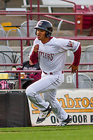 Wisconsin Timber Rattlers outfielder Trent Clark (27) races home during a Midwest League game against the Clinton LumberKings on May 9th, 2016 at Fox Cities Stadium in Appleton, Wisconsin.  Clinton defeated Wisconsin 6-3. (Brad Krause/Four Seam Images)