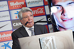 Atletico´s President Enrique Cerezo during Raul Jimenez´s official presentation as a new Atletico de Madrid´s new player at Vicente Calderon stadium in Madrid, Spain. August 27, 2014. (ALTERPHOTOS/Victor Blanco)