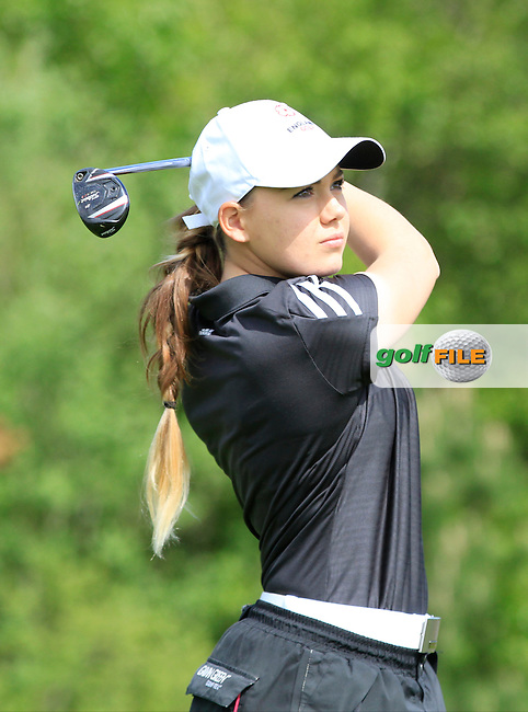 Gemma Clews (ENG) on the 7th tee during Round 1 of the Irish Women's Open Strokeplay Championship at Dun Laoghaire Golf Club on Saturday 23rd May 2015.<br /> Picture:  Thos Caffrey / www.golffile.ie