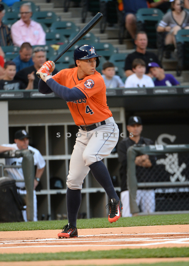 Houston Astros George Springer (4) during a game against the Chicago White Sox on June 9, 2015 at US Cellular Field in Chicago, IL. The White Sox beat the Astros 4-2.