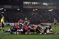 A general view of a scrum. Remembrance Rugby match, between Bath United and UK Armed Forces on November 9, 2015 at the Recreation Ground in Bath, England. Photo by: Patrick Khachfe / Onside Images