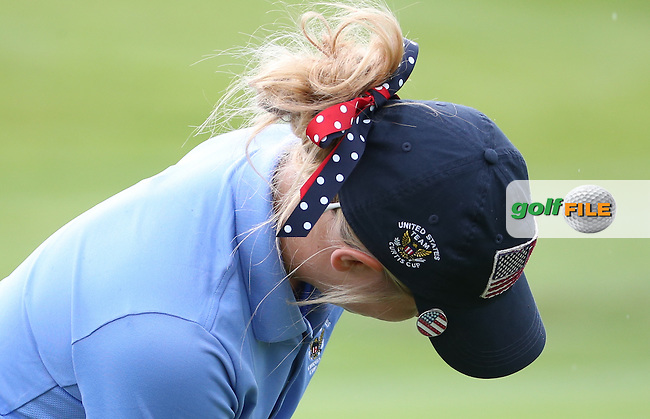 Rear of head of Bailey Tardy during Friday Foursomes at the 2016 Curtis Cup, played at Dun Laoghaire GC, Enniskerry, Co Wicklow, Ireland. 10/06/2016. Picture: David Lloyd | Golffile. <br /> <br /> All photo usage must display a mandatory copyright credit to &copy; Golffile | David Lloyd.