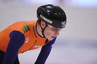SCHAATSEN: LEEUWARDEN: 08-10-2015, Elfstedenhal, shorttrack time trial, Tjerk de Boer, ©foto Martin de Jong