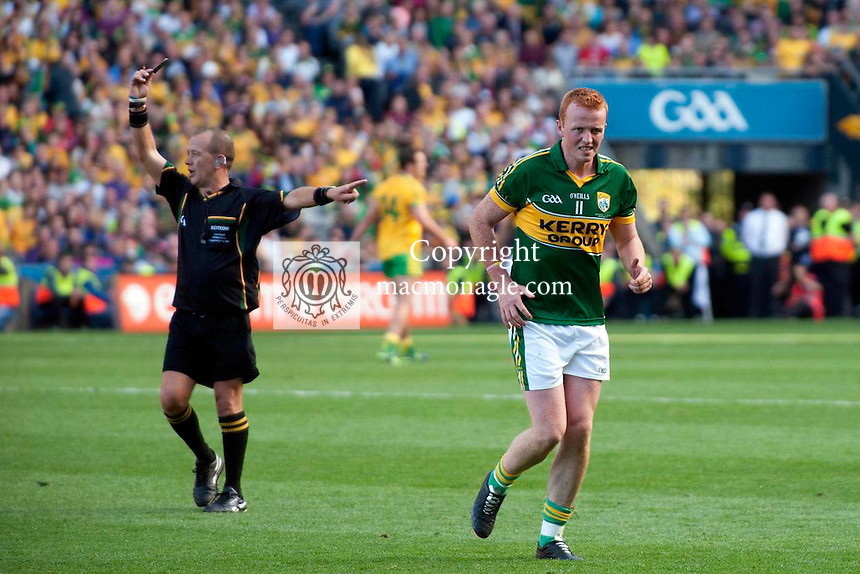 A black card for Johnny Buckley in the All-Ireland Football Final against Donegal in Croke Park 2014.<br /> Photo: Don MacMonagle<br /> <br /> <br /> Photo: Don MacMonagle <br /> e: info@macmonagle.com