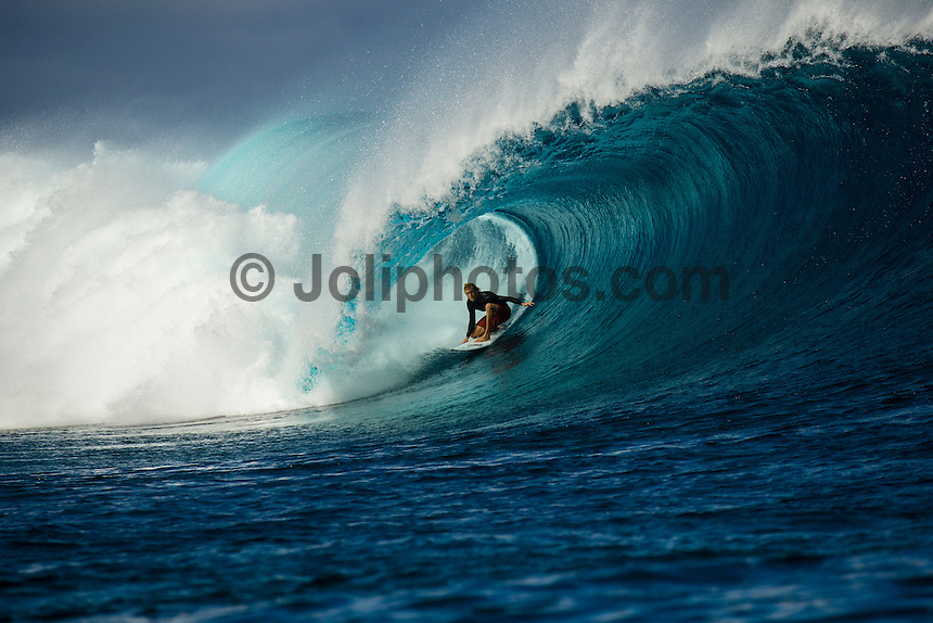 Namotu Island Resort, Fiji. (Friday, September 14, 2012) - Karl Atikins (AUS).  There was wind  from the south east this morning with swell at Cloudbreak still providing some 6'-8'  barrels. The swell backed off as the wind swung more trades and the tide filled in. Photo: joliphotos.com