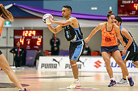 NZ Men's Kruze Tangira in action during the Cadbury Netball Series match between NZ Men and All Stars at the Bruce Pullman Arena in Papakura, New Zealand on Friday, 28 June 2019. Photo: Dave Lintott / lintottphoto.co.nz