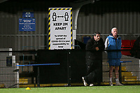 Two metre social distancing signage during Barking vs Romford, Friendly Match Football at Mayesbrook Park on 8th September 2020