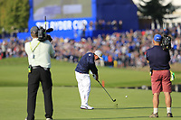 Rickie Fowler Team USA plays his 2nd shot on the 15th hole during Friday's Foursomes Matches at the 2018 Ryder Cup 2018, Le Golf National, Ile-de-France, France. 28/09/2018.<br /> Picture Eoin Clarke / Golffile.ie<br /> <br /> All photo usage must carry mandatory copyright credit (© Golffile | Eoin Clarke)