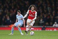 Arsenal's Matteo Guendouzi and Leeds United's Robbie Gotts<br /> <br /> Photographer Rob Newell/CameraSport<br /> <br /> Emirates FA Cup Third Round - Arsenal v Leeds United - Monday 6th January 2020 - The Emirates Stadium - London<br />  <br /> World Copyright © 2020 CameraSport. All rights reserved. 43 Linden Ave. Countesthorpe. Leicester. England. LE8 5PG - Tel: +44 (0) 116 277 4147 - admin@camerasport.com - www.camerasport.com