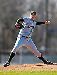24 April 2007: Dartmouth College Big Green pitcher Zach Cheaney, a Freshman from Houston, TX, on the mound against the University of Vermont Catamounts at Historic Centennial Field, in Burlington, Vermont...Mandatory Photo Credit: Ed Wolfstein Photo