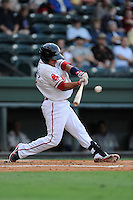 Catcher Jayson Hernandez (12) of the Greenville Drive in a game against the Lexington Legends on Friday, August 16, 2013, at Fluor Field at the West End in Greenville, South Carolina. Greenville won, 2-1. (Tom Priddy/Four Seam Images)