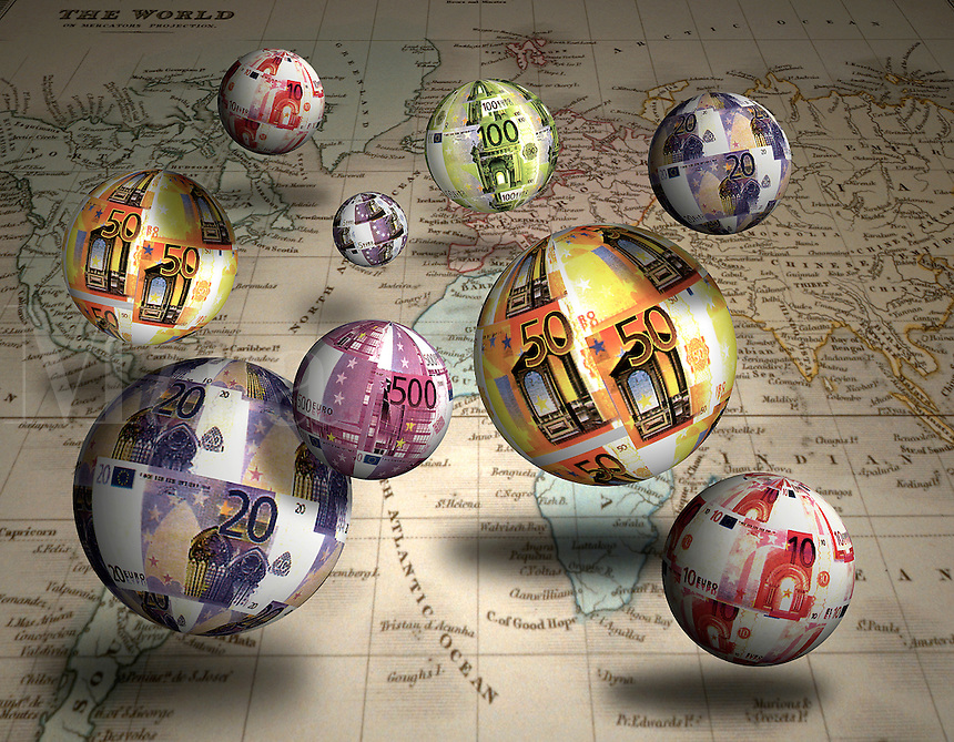 euro dollars made into balls, floating over a world map. Money, currency, currencies.