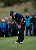 27.09.2014. Gleneagles, Auchterarder, Perthshire, Scotland.  The Ryder Cup.  Patrick Reed [USA] putts on the second green. Saturday Foursooms.