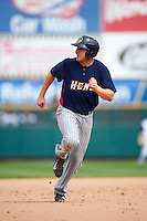 Toledo Mudhens first baseman Chad Huffman (17) running the bases during a game against the Rochester Red Wings on June 12, 2016 at Frontier Field in Rochester, New York.  Rochester defeated Toledo 9-7.  (Mike Janes/Four Seam Images)
