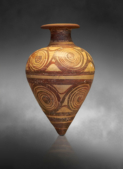 Mycenaean ovoid rhython with spiral design , Grave II, Grave Circle A, Mycenae 16-15 Cent BC. National Archaeological Museum Athens. Cat No 221. Grey art Background