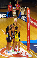 Jodi Brown shoots for goal during the ANZ Netball Championship match between the Central Pulse and Waikato Bay Of Plenty Magic at TSB Bank Arena, Wellington, New Zealand on Monday, 30 March 2015. Photo: Dave Lintott / lintottphoto.co.nz
