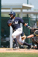 Second baseman Angelo Gumbs (21) of the New York Yankees organization during a minor league spring training game against the Pittsburgh Pirates on March 22, 2014 at Pirate City in Bradenton, Florida.  (Mike Janes/Four Seam Images)