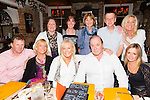 Enjoying a friends night out at the Stone house on Saturday.Pictured front l-r James O'Dowd, Simonette Clifford, Liz Pierce, Wally Pierce and Samantha Cole.Back l-r Juliette O'Brien, Mags O'Sullivan, Brenda Walsh, Simon McGivney and Valerie Clifford