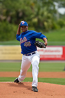 April 25 2010: Jeurys Familia (45) of the St. Lucie Mets during a game vs. the Bradenton Marauders at Digital Domain Park in Port St. Lucie, Florida. St. Lucie, the Florida State League High-A affiliate of the New York Mets, won the game against Bradenton, affiliate of the Pittsburgh Pirates, by the score of 5-4  Photo By Scott Jontes/Four Seam Images
