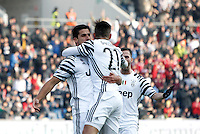 Calcio, Serie A: Sassuolo vs Juventus. Reggio Emilia, Mapei Stadium, 29 gennaio 2017. <br /> Juventus&rsquo; Sami Khedira, left, celebrates with teammates Paulo Dybala, center, and Miralem Pjanic after scoring during the Italian Serie A football match between Sassuolo and Juventus at Reggio Emilia's Mapei stadium, 29 January 2017.<br /> UPDATE IMAGES PRESS/Isabella Bonotto