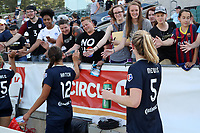 Cary, North Carolina  - Saturday June 03, 2017: Samantha Mewis, Ashley Hatch, and fans after a regular season National Women's Soccer League (NWSL) match between the North Carolina Courage and the FC Kansas City at Sahlen's Stadium at WakeMed Soccer Park. The Courage won the game 2-0.