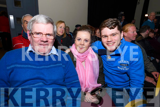 Michael and Alana Kissane (Lixnaw) and Proinnsias Ó Cathasaigh (Lios Póil) enjoying the Ceolchoirm 'Mórtas Cine' during Scoil Cheoil an Earraigh at Halla na Feothanaí on Friday night.